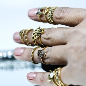 Jewelry - 14kt Gold Dipped Hamsa Love Festival Stack Rings